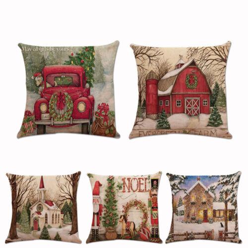 Noël Noël Santa Claus Housse de Coussin Taie D/'oreiller Carré Voiture Décoration Moderne