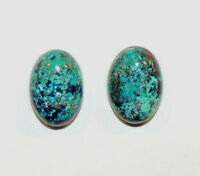 Chrysocolla Pair Cabochons 10x14mm With 5mm Dome From Peru Set Of 2 (9974)