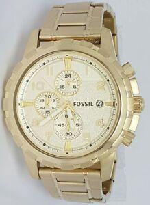 Authentic-Original-Fossil-Men-039-s-FS4867-Dean-Chronograph-Gold-Tone-Watch