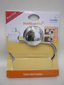 NEUF-Croydex-Toilet-Roll-Towel-Holder-Stick-N-Lock-Plus-Chrome-QM281141-Rouille-Gratuit