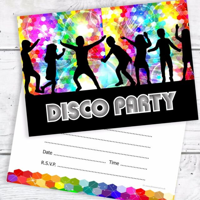 Kids disco party invitations ready to write a6 postcard size disco party invitations kids birthday invites a6 postcard style pack 10 stopboris Image collections