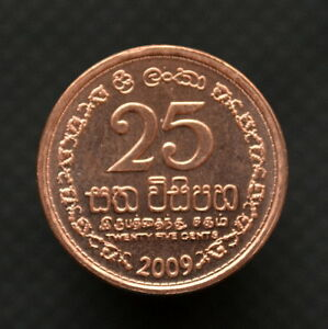 Sri Lanka 25 Cents Km141 Unc Coin Asia Currency Münzen International
