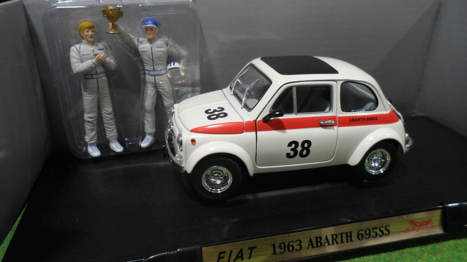 FIAT ABARTH 695SS   38 + 2 FIGURINES 1 18 ROAD SIGNATURE 92338 voiture miniature