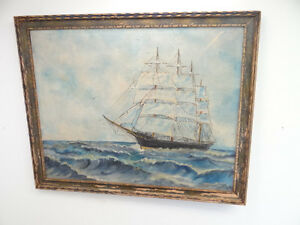 Vintage-Old-Hand-Signed-S-J-Sailing-Ship-Nautical-Ocean-Seascape-Oil-Painting