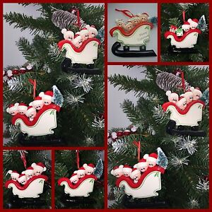 Christmas Tree Decorations Names.Details About Personalised Christmas Tree Decoration Ornament Sled Family 2 5 Names