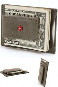 1-Poche-Portefeuille-Hommes-Gris-Slim-Front-Mince-RFID-Block-carte-de-credit-Porte-monnaie-clip