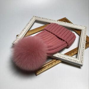New-Winter-Hats15cm-Real-Fox-Fur-Pom-Pom-Women-Winter-Knit-Beanie-Bobble-Hat