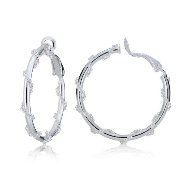 Sterling Silver Chain Wrap Clip On Hoop Earrings 25mm