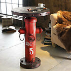 Industrial Side Coffee Table Old Metal Hydrant Vintage Rustic Design Red Brown