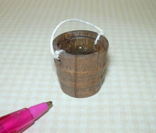 """Miniature Aged Wooden Bucket Filled w//Resin /""""Water/"""" DOLLHOUSE 1:12"""