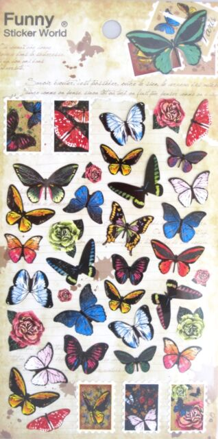 Funny Sticker World Scrapbooking Sticker Sheet (Butterfly)~KAWAII!!