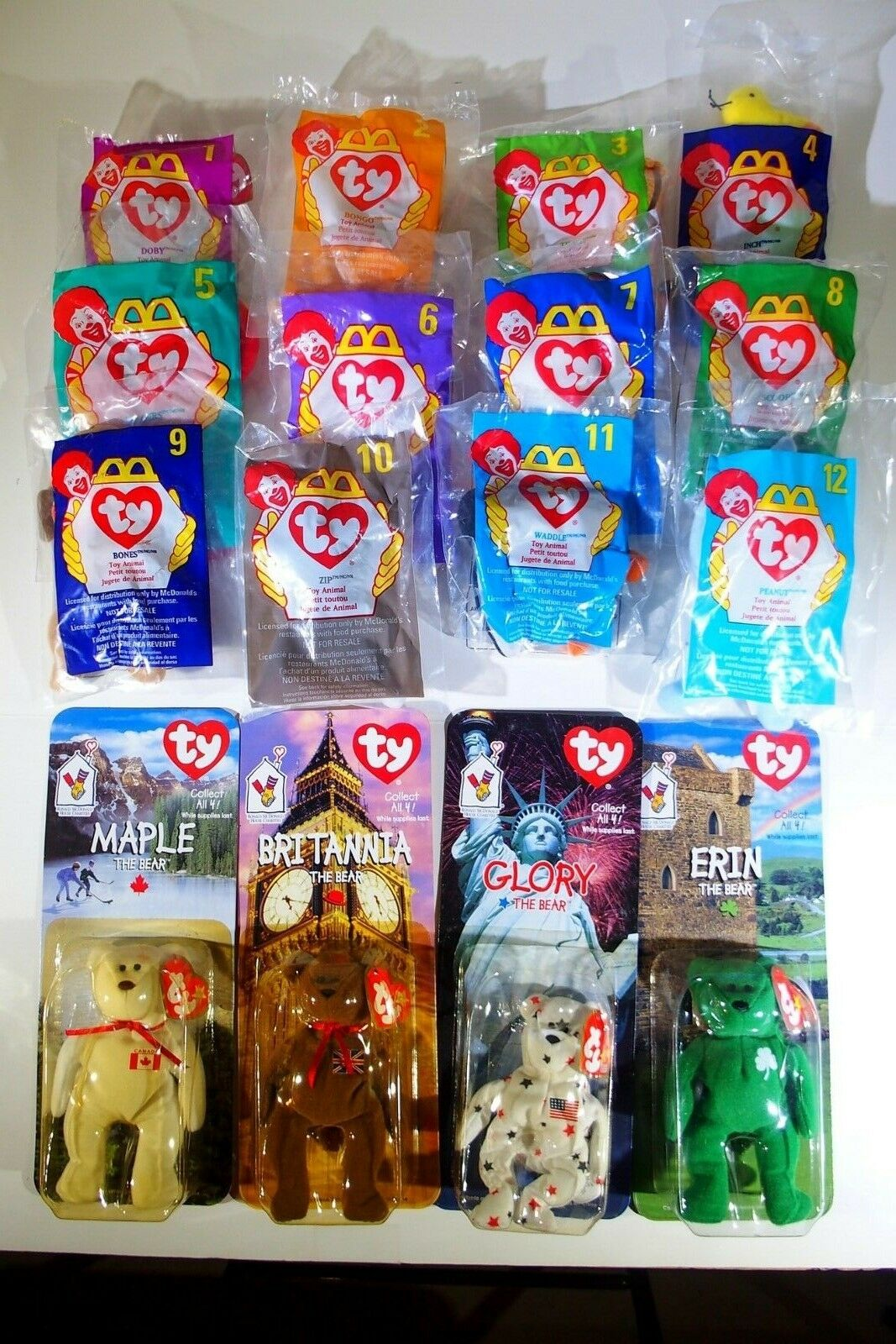 MCDONALDS 1998 HAPPY MEAL 12 TY BEANIE BABIES AND ERIN, GLORY, MAPLE, BRITANNIA.