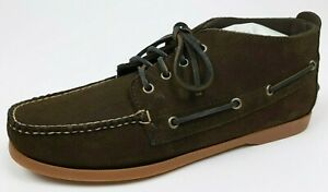 BROOKS-BROTHERS-Men-039-s-11D-Dark-Brown-Leather-Suede-Chukka-Boat-Boots-Shoes-NEW