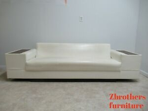 Details About Vintage Mid Century White Vinyl Commander Sofa Couch Living Room End Table