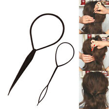 Black Topsy Tail Hair Braid Ponytail Maker Styling Tool Hair Accessories 2pcs