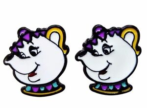 Mrs Potts And Chip Enamel Earrings With Gift Bag Rd16