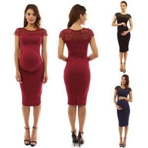 e03549554e953 Details about Pregnant Women Bodycon Lace Maternity Dress Evening Party  Office Pencil Dresses