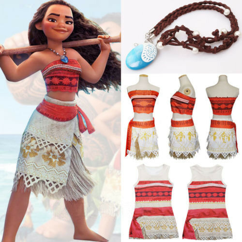 Kids Costume Moana Princess Girls Cosplay Fancy Dress Neckla