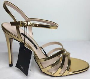 da55b625751 Image is loading Zara-Laminated-Strappy-Metallic-High-Heel-Sandals