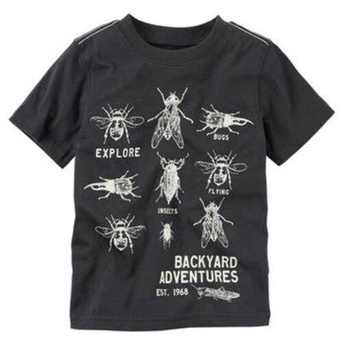 New Carter/'s Boys Glow in Dark Bug Top NWT 2T Kid Short Sleeve Explore Backyard