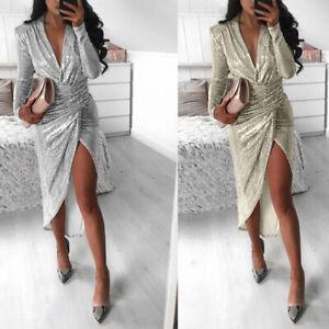 Women-Long-Sleeve-Sequin-Wrap-Split-Midi-Dress-Sexy-V-Neck-Evening-Party-Dress
