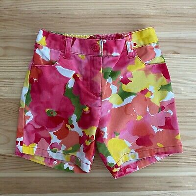 Janie and Jack NWT Pink IMPRESSIONS OF SPRING FLORAL DENIM SHORTS 3 6 9 12 Month