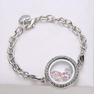 Magnetic-Silver-Crystal-Glass-Living-Memory-Locket-Bracelet-For-Floating-Charms