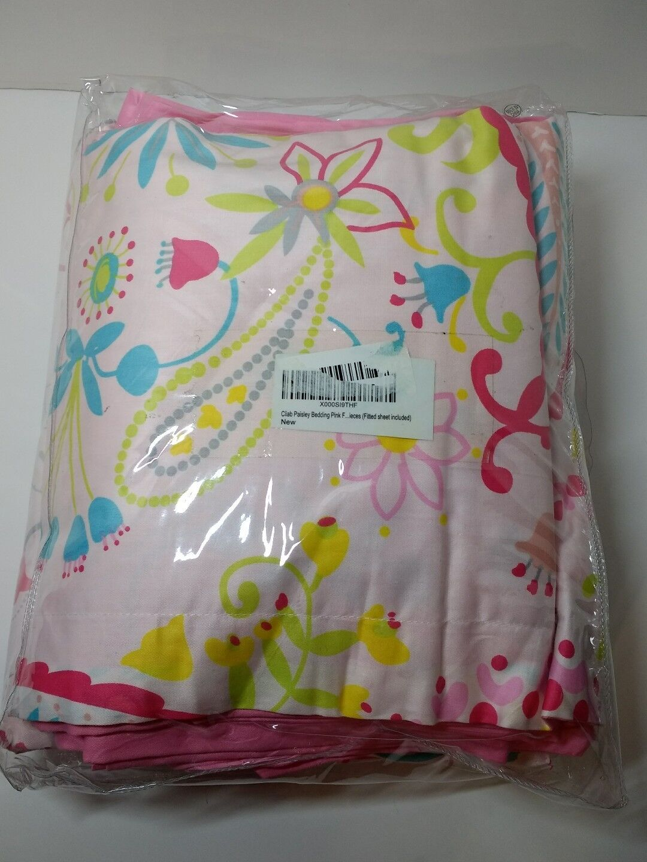 Cliab Paisley Bedding Pink Full Duvet Cover Set 100% Cotton 5 Piece
