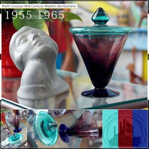 WONDERFUL COLOURED SWEET VINTAGE MID CENTURY MODERN GLASS BONBONIERE 50ties ITAL