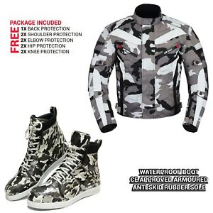 Mens-Motorcycle-CE-Armored-Camo-Jacket-Motorbike-Leather-Shoes-Casual-Touring