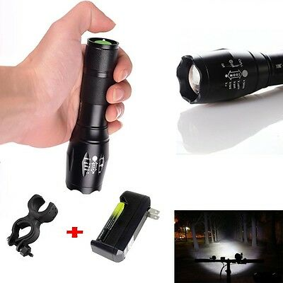 Zoomable 15000LM  XML T6 LED Flashlight Torch Lamp+1*18650+charger+Bike clip