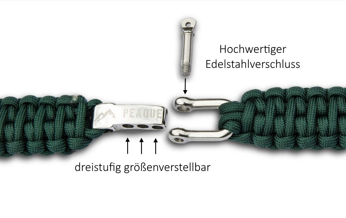 Peaque Survival Bracelet en en en Paracord-réglable en acier inoxydable bouchon 845de7