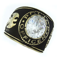 Clear Stone Police Officer Gold Ep Plated Mens Ring