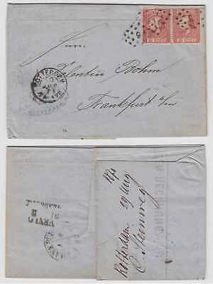 Rotterdam To Frankfurt And Digestion Helping 2x On Els Numeral 91 Cancel Able Netherlands 1871 Sc 8b
