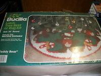 Vintage Bucilla Latch Tree Skirt Kit 34 Round Teddy Bear 13146