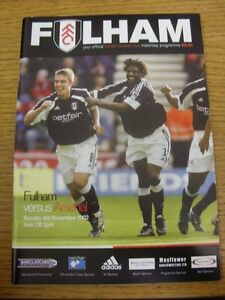 03112002 Fulham v Arsenal   Item appears to be in good condition unless previ - <span itemprop='availableAtOrFrom'>Birmingham, United Kingdom</span> - Returns accepted within 30 days after the item is delivered, if goods not as described. Buyer assumes responibilty for return proof of postage and costs. Most purchases from business s - <span itemprop='availableAtOrFrom'>Birmingham, United Kingdom</span>