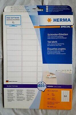 Herma Etiketten Ordner Hängeregister Weiß Ablösbar Nr. 4201 45,7x16,9 Cm 1600st. Angenehm Im Nachgeschmack