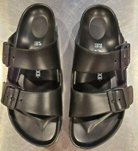 black rubber birkenstock sandals