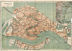 1886 Venice Italy Map Vintage Historical Wall Poster Home School