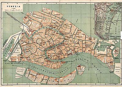 1886 Venice Italy Map Vintage Historical Wall Poster Home School Venezia Venise