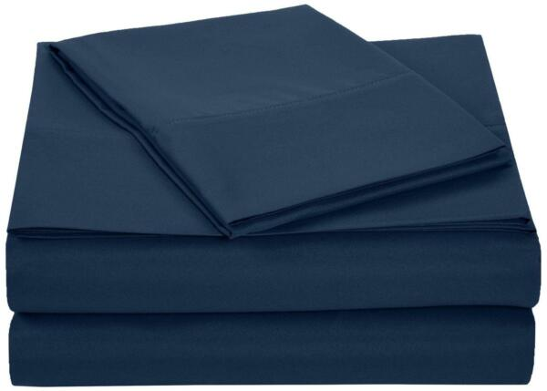 amazonbasics microfiber sheet set twin extra long navy blue ebay. Black Bedroom Furniture Sets. Home Design Ideas
