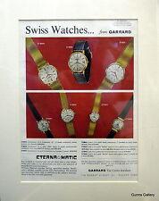 Original Vintage Advert mounted ready to frame Garrard  Wrist Watch c1964