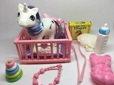 Vintage MLP G-1 Hasbro My Little Pony ~ BABY GLORY w/ PLAY & CARE ACCESSORY LOT
