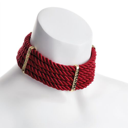 New Womens Gold Color Platted Design Cord Five Row Choker Necklace