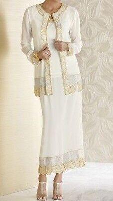 Mother of Bride Groom women's Wedding beaded 3PC skirt suit dress plus 2X $180