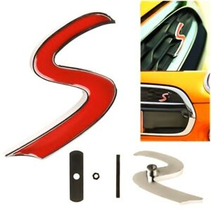Insignia-con-logotipo-rojo-Mini-S-frente-emblema-rejilla-Mini-Cooper-R50-R52-R53-R56-R57-Vintag