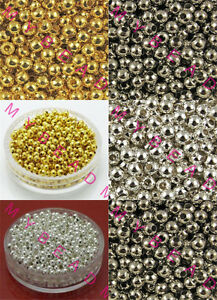 Gold-Silver-Plated-Round-Ball-Acrylic-Jewelry-Diy-SPACER-BEADS-4mm-6mm-8mm
