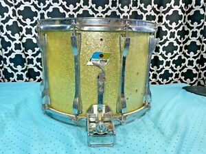 Vintage-Ludwig-Blue-Olive-Badge-1970s-Marching-Band-Gold-Snare-Drum-14-034-x10-034