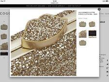 New Genuine Lulu Guinness Gold Glitter FLOSSIE Evening Clutch bag RRP £275 rare