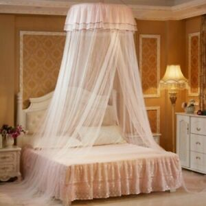 Home Round Dome Hung Bedding Mosquito Net Canopy Princess Lace Bed Tent Elegant